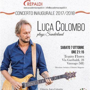 Il chitarrista Luca Colombo all'inaugurazione dell'anno scolastico 17/18 dell'Accademia Musicale Crepaldi