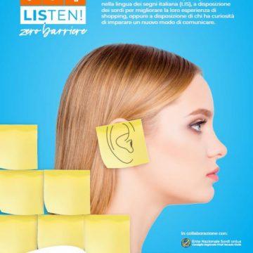 """LISten! – Zero Barriere: Granfiume Gran Shopping diventa  il primo Centro Commerciale Italiano """"deaf friendly"""""""