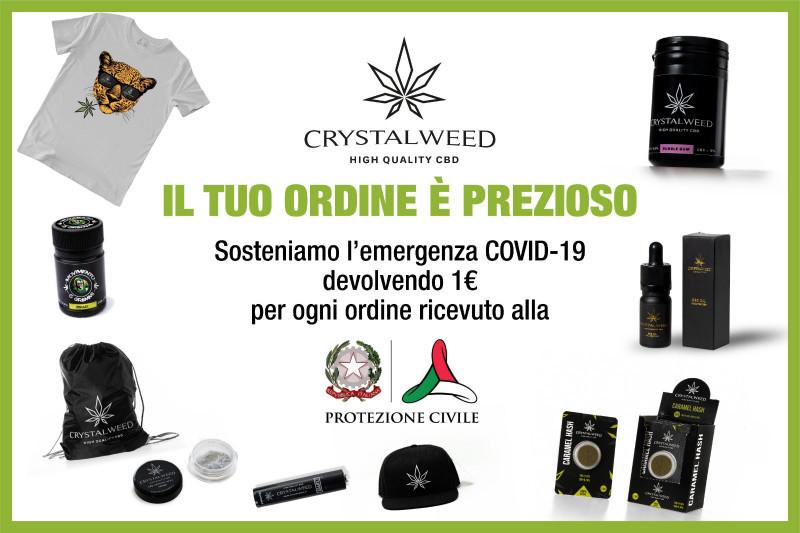 Crystalweed, azienda milanese di cannabis light, dona alla Protezione civile 1 euro per ogni ordine ricevuto