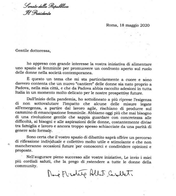 """Il sostegno della Presidente del Senato Maria Elisabetta Alberti Casellati alla rivoluzione gentile del Cantiere delle donne think tank al femminile nato proprio nella """"sua Padova"""""""