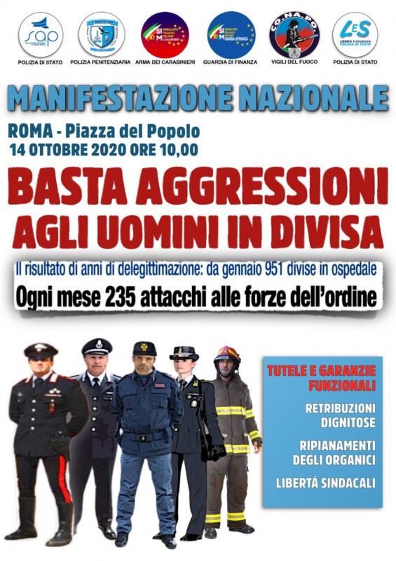 MANIFESTAZIONE PIAZZA DEL POPOLO 14 OTTOBRE – BASTA AGGRESSIONI ALLE FORZE DELL'ORDINE