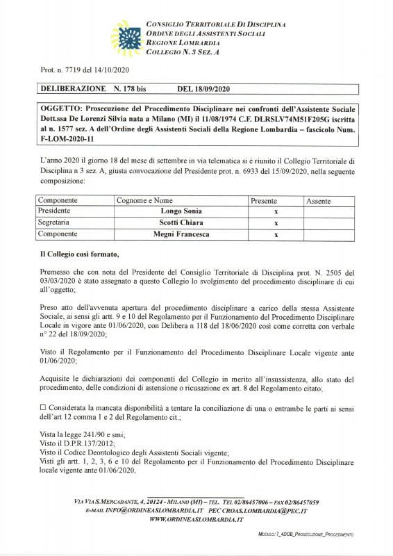 NOTA STAMPA dell'avvocato Cenacchi sul procedimento disciplinare immediatamente esecutivo a carico dell'assistente Sociale Silvia De Lorenzi del Comune di Milano